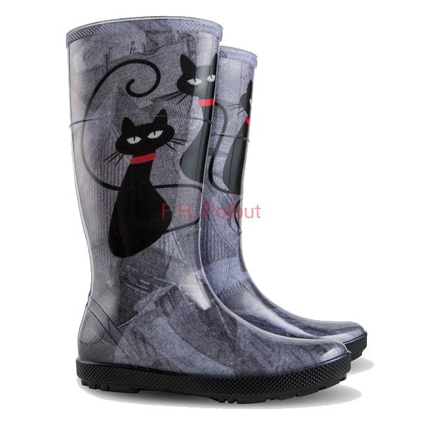 Elegante Gummistiefel Fur Katzenliebhaberinnen Von Firma Demar Grossenauswahl Von 36 Bis 41 Hawai Lady Katze Damen Boots Rubber Rain Boots Rain Boots