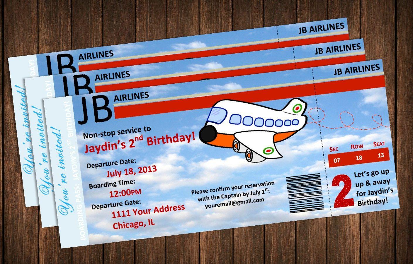 Birthday. Drop-dead Gorgeous Airplane Birthday Party Invitations ...