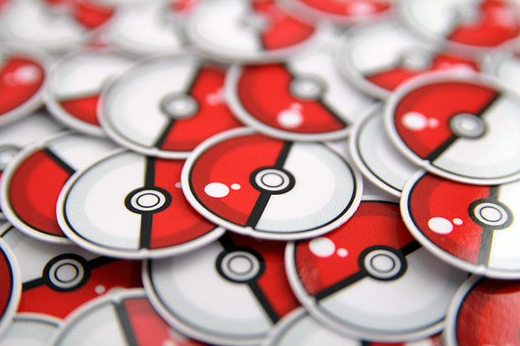 Pokeball Stickers 1 inch - FREE SHIP on additional stickers after first - Pokemon Stickers on Etsy, $1.00