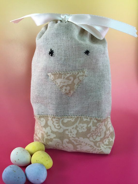 Party favor bag easter chick hand embroidered reusable party favor bag easter chick hand embroidered reusable drawstring linen look muslin for gifts treats jewelery and more negle Choice Image