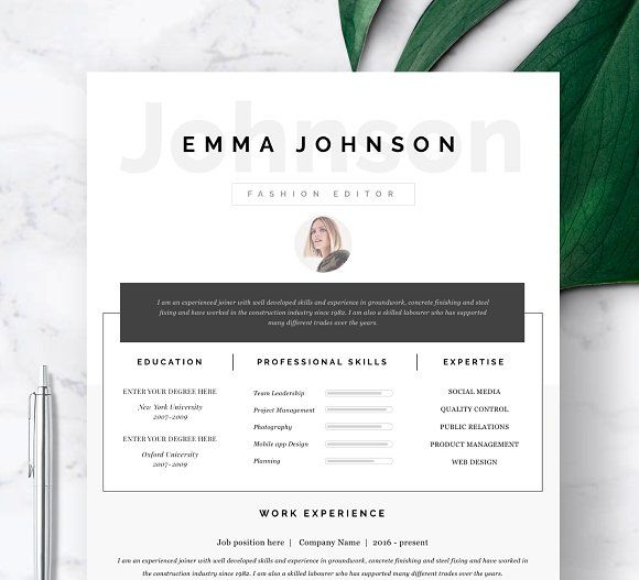 Resume Template 1 page @creativework247 Best Resume Templates