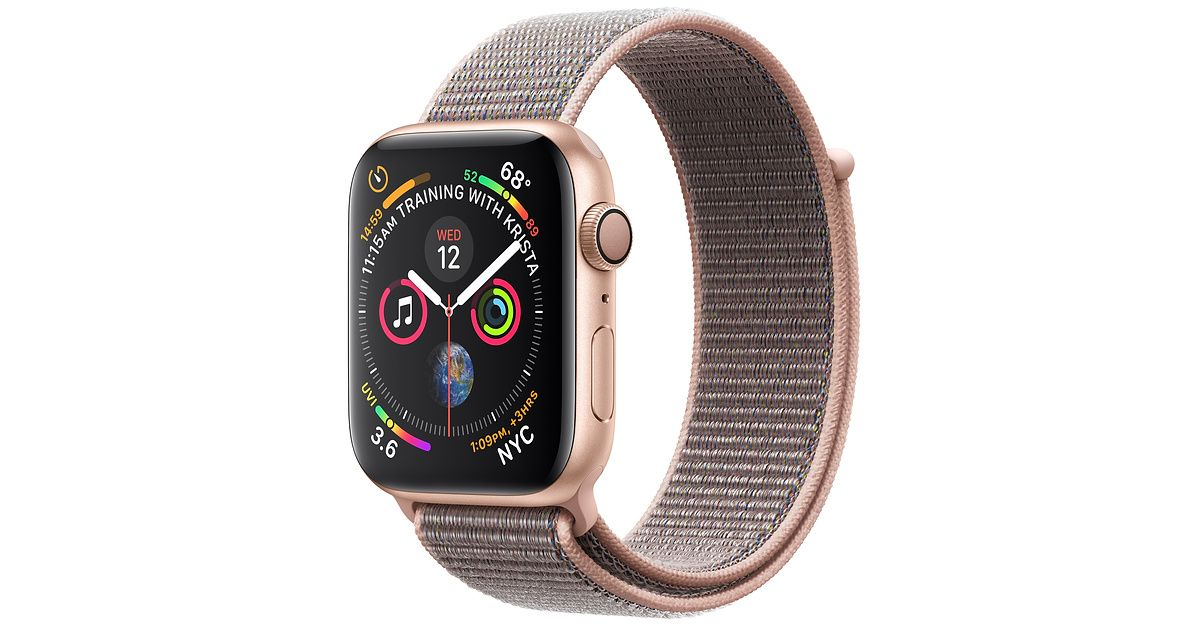 Shop Apple Watch Gold Aluminum Case with pink Sport Loop