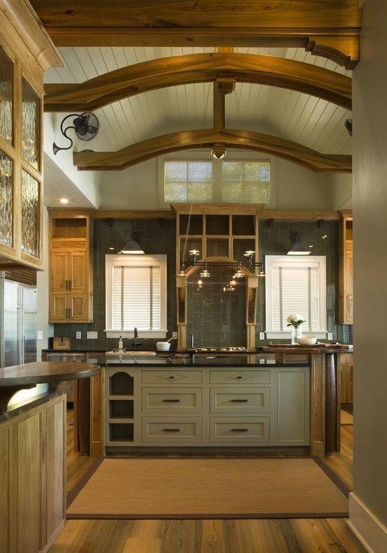 Beamed ceiling grey kitchen cabinets wood floors interior architecture herlong associates coastal architects charleston south carolina