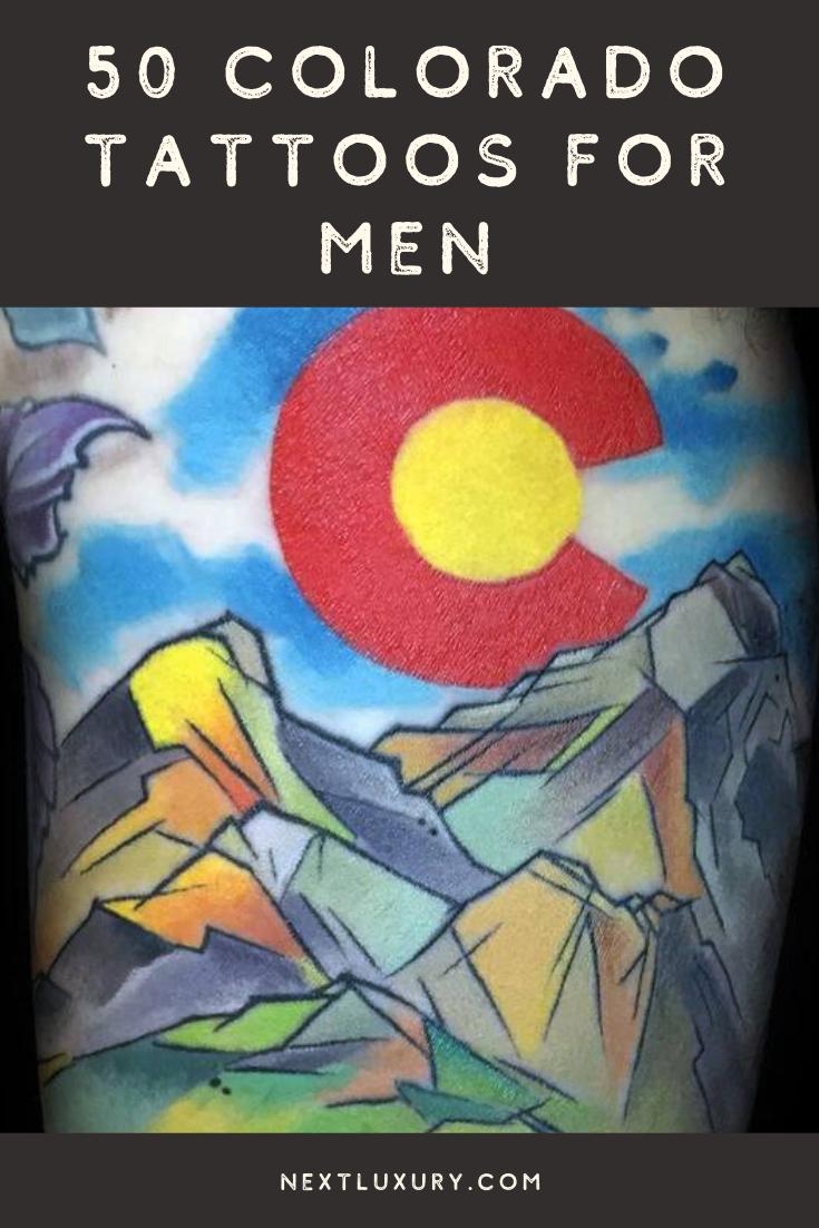 50 Colorado Tattoos For Men – Rocky Mountain Design Ideas