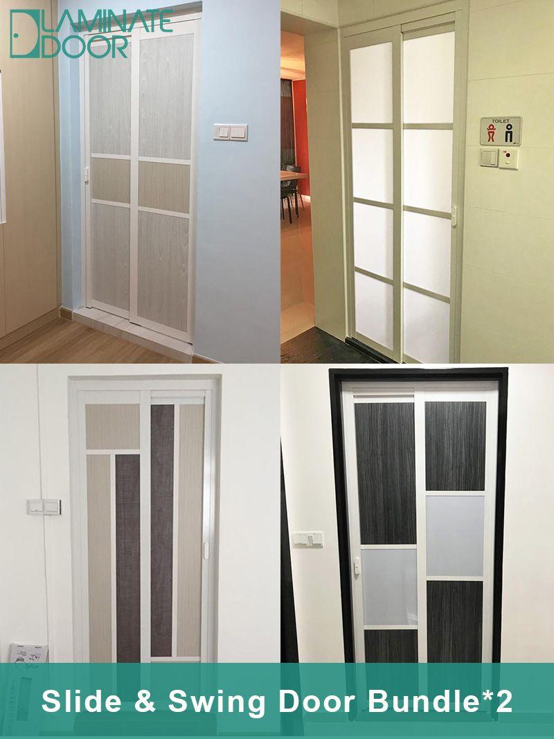 Hdb Toilet Door: Door Factory Selling PVC Slide & Swing Door For HDB / BTO