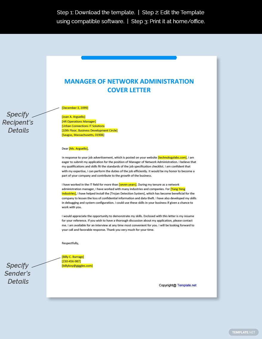 Free Manager of Network Administration Cover Letter