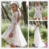 Short Wedding Dresses  Vintage Lace Wedding Dress With Detachable Skirt Cheap M  future Short Wedding Dresses  Vintage Lace Wedding Dress With Detachable Skirt Cheap M  f...