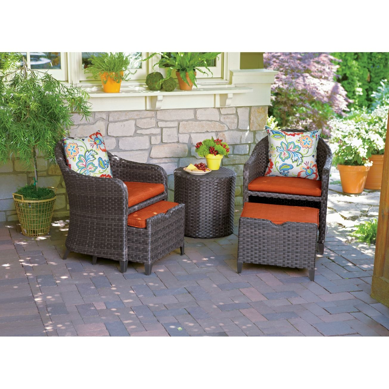 Seabrook 5 Pc Wicker Chat Set W/Pull Out Ottomans   All Patio Collections