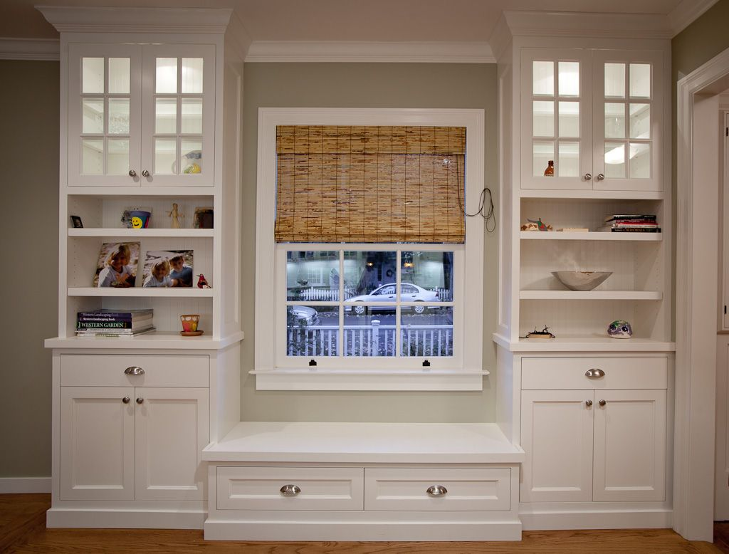 built in bookcase with cabinets griffin custom cabinets window seat bookshelf - Window Seat With Bookshelves