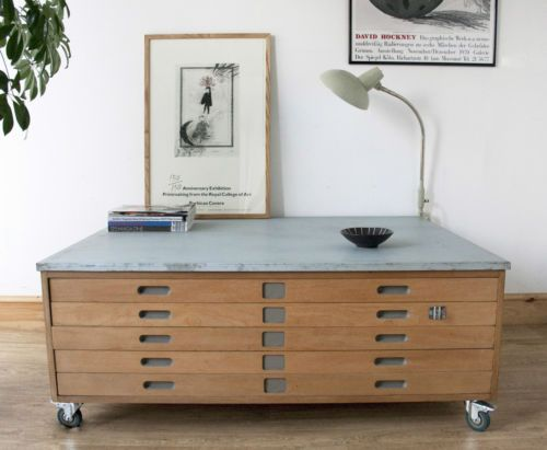 VINTAGE PLAN CHEST ARCHITECTS DRAWERS MAP DRAWERS