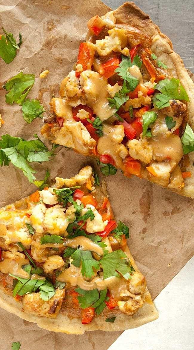 Thai Pizza vegan glutenfrei  Diese Pizza hat die Aromen von ThaiFrühlings