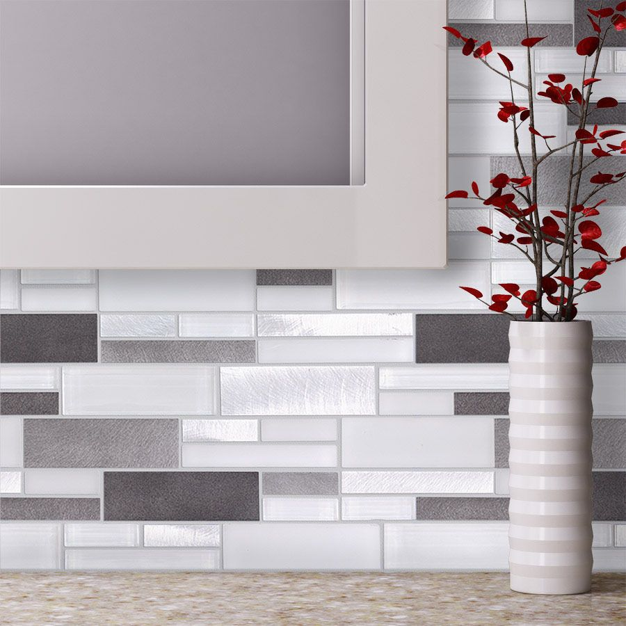 Glass Mosaic Tile Kitchen Backsplash Ideas: Aluminum Glass Tile Backsplash Ice Blend