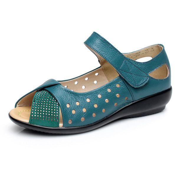 SOCOFY Large Size Peep Toe Hollow Rhinestones Hook Loop Flat Shoes