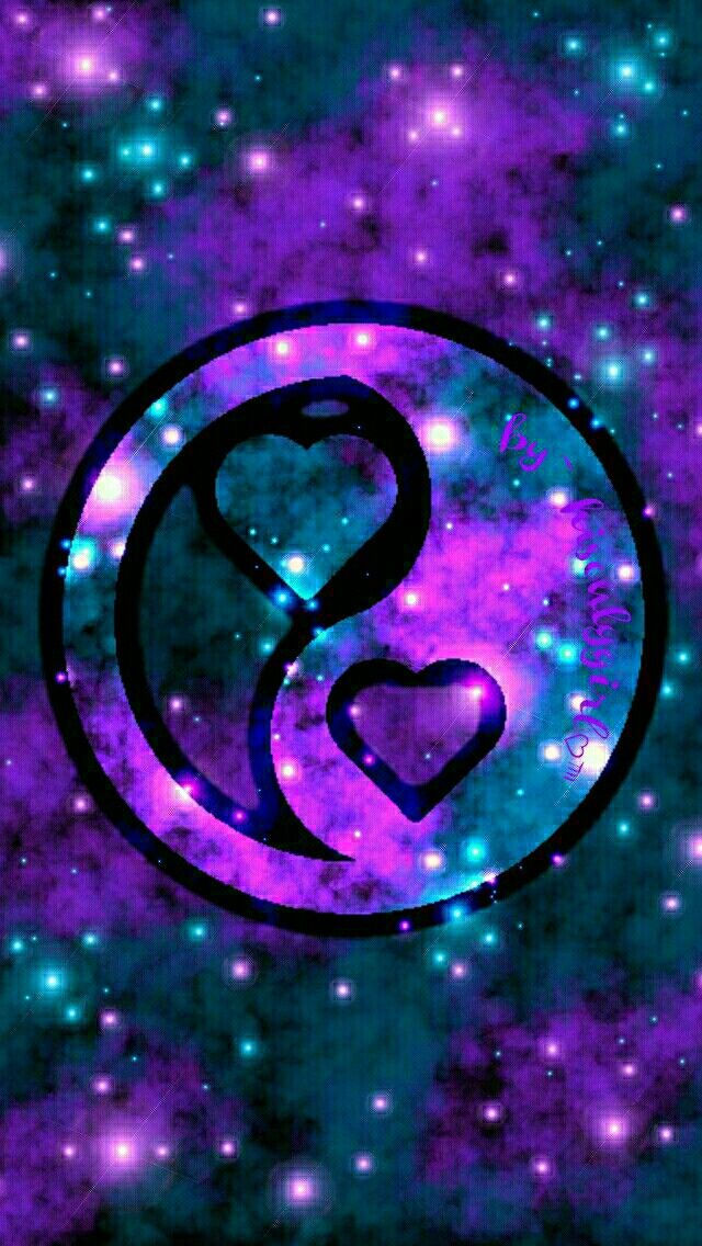 Cool Yin  Yang Heart  Phone Wallpaper/Background/Screensaver.  Ariana grande