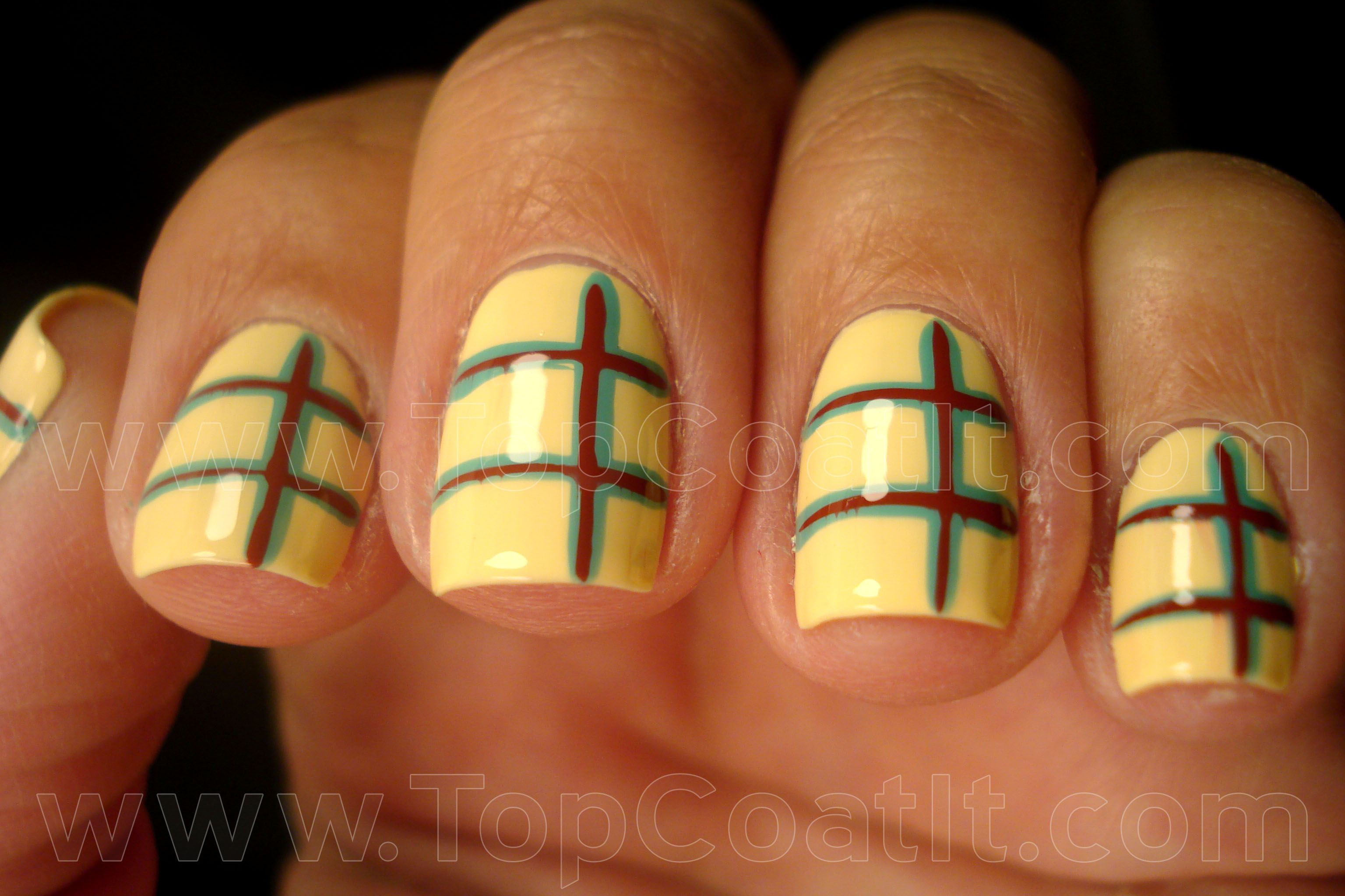 Lines (not quite plaid) of turquoise & dark red over yellow nail art ...