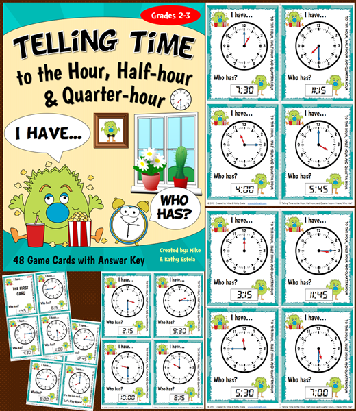 Get your students engaged as they learn how to tell time appropriately. This set contains a total of 48 game cards.