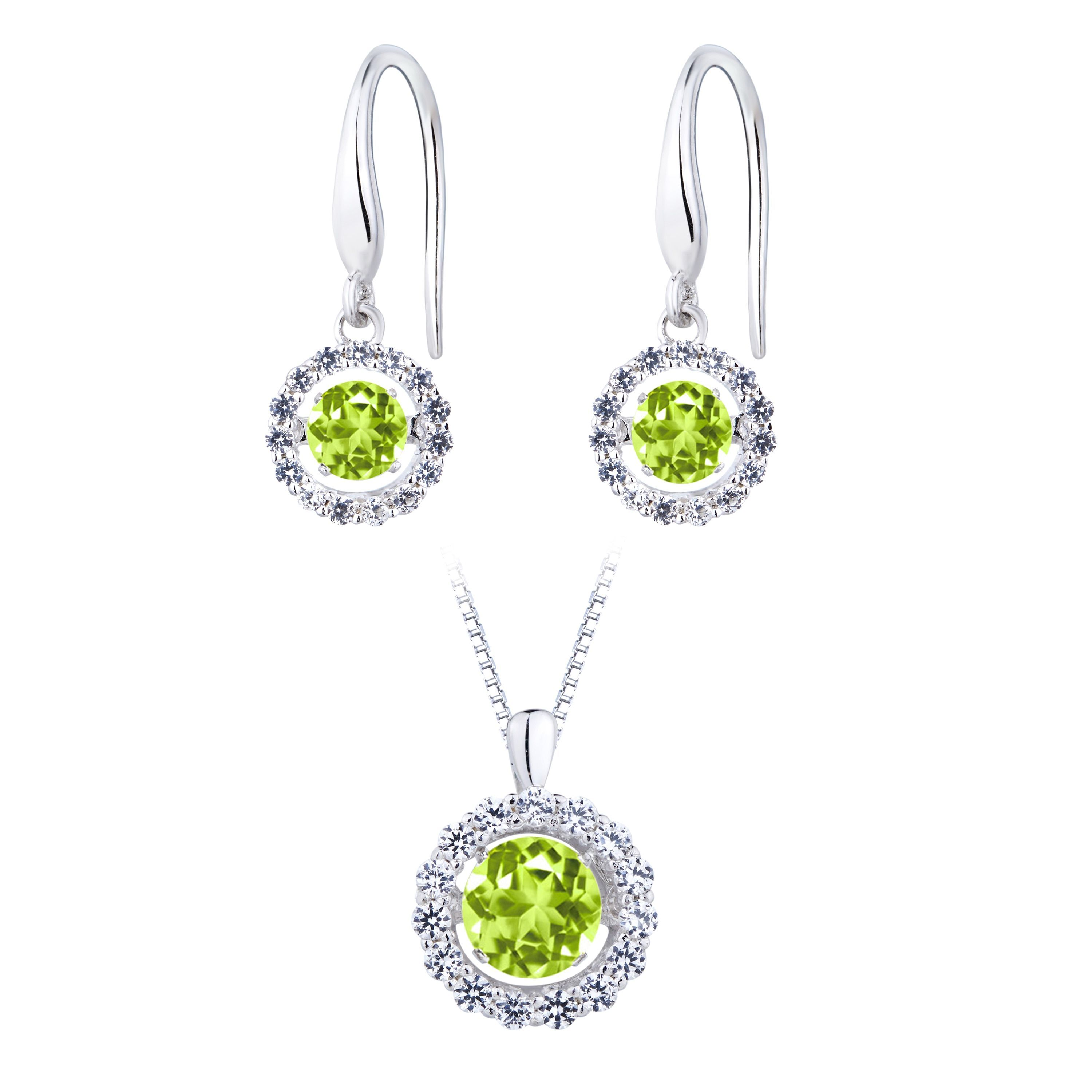 Titan silver simulatedperidot dancing stone earring and pendant set