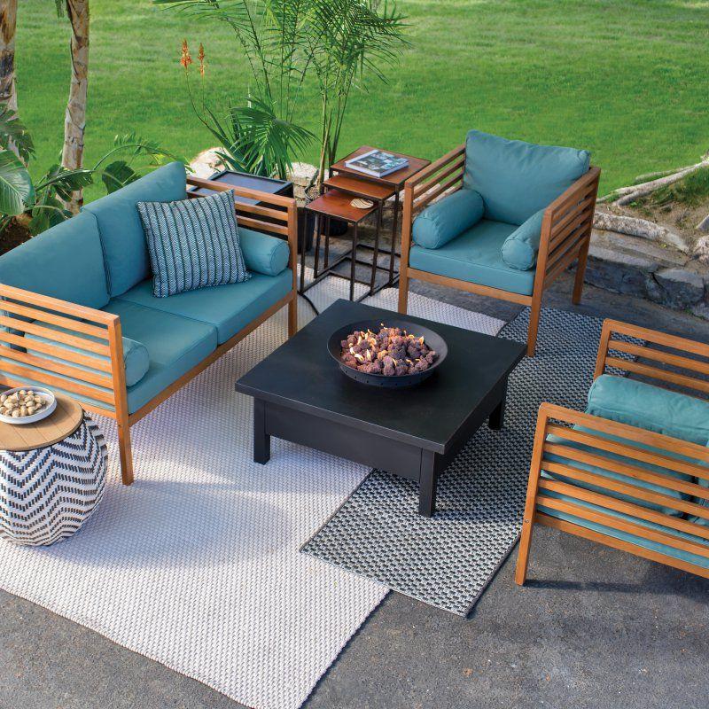 Outdoor Coral Coast Tovar Fire Pit Patio Set Wood Patio Furniture
