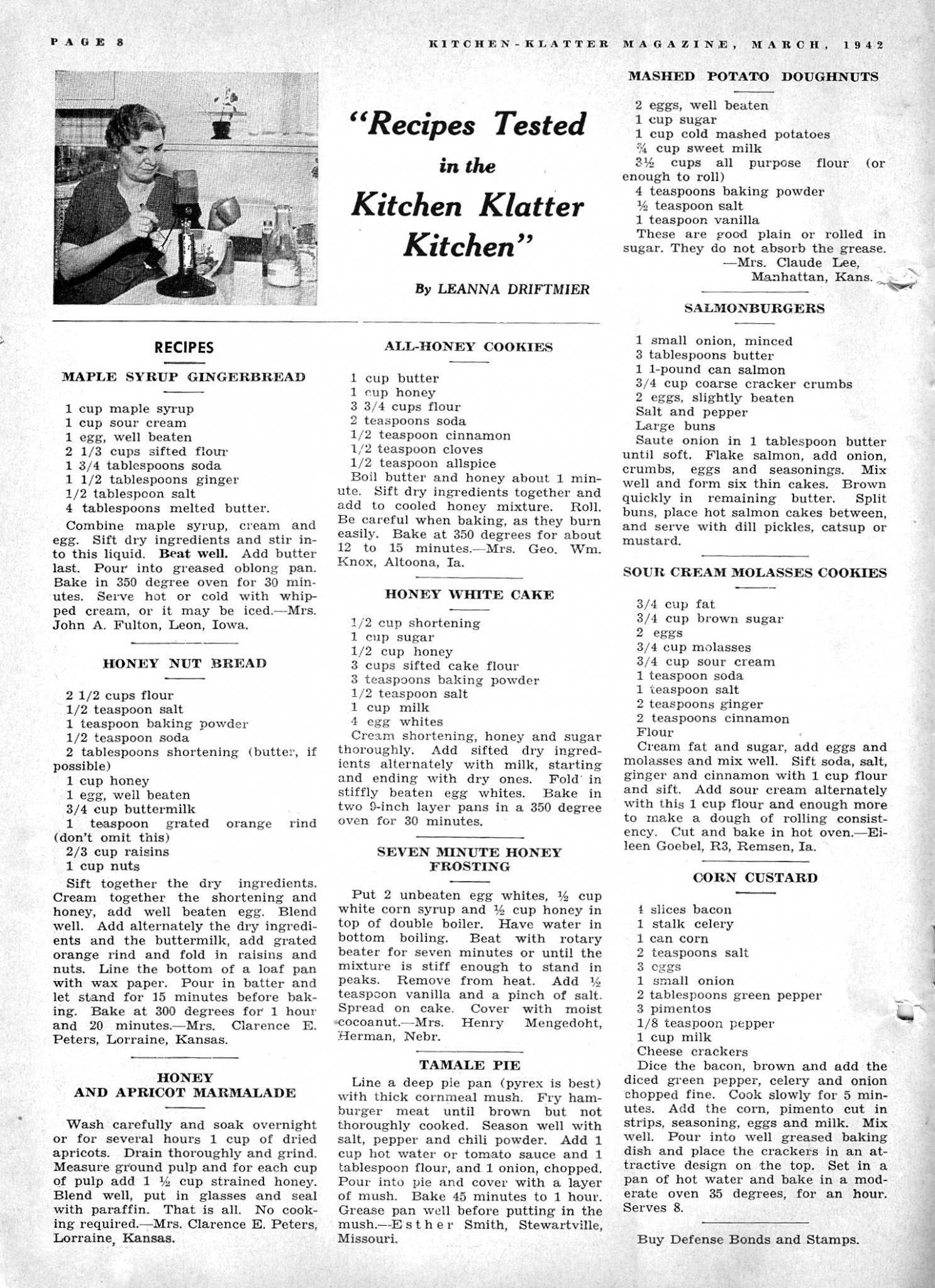 Kitchen Klatter Magazine, March 1942 - Maple Syrup Gingerbread ...