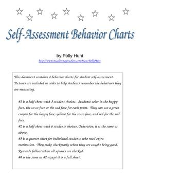 SelfAssessment Behavior Charts  Behaviour Chart Students And