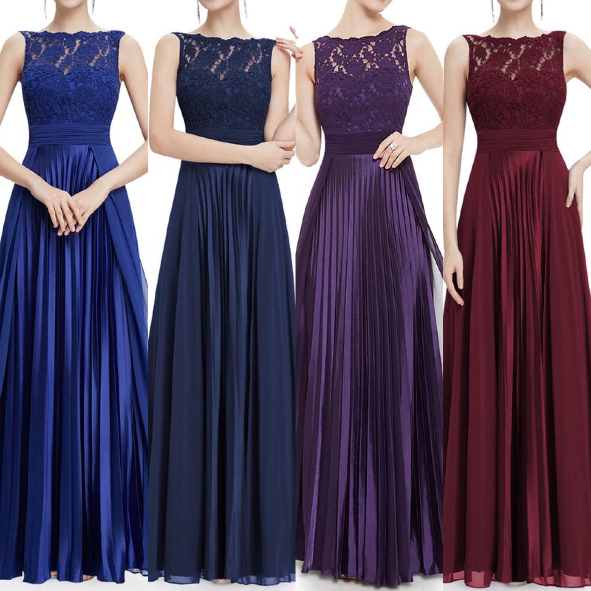 Floor Length Lace, Chiffon and satin pleated Bridesmaid Dress in ...