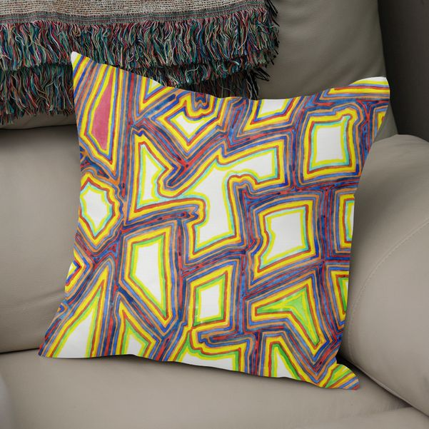 Outlined Fancy White Shapes Pattern Throw Pillow By Heidi