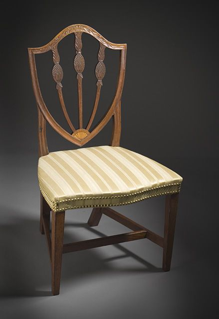 Shield Back Side Chair With Basket Carved Crest Rais And