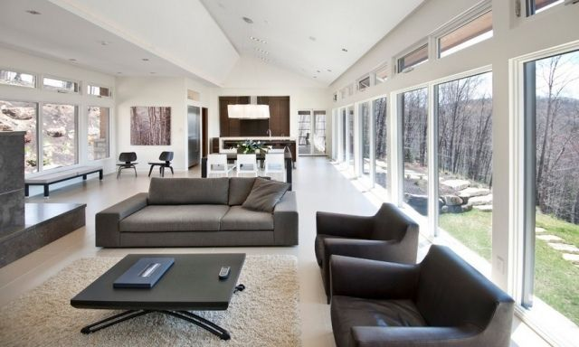 Schlicht und nüchtern Wohnzimmer einrichten-Neutrale Farben sorgen ...