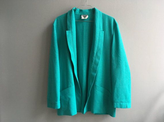 Vintage Oversized Woman bright mint teal green by StillLooksGreat