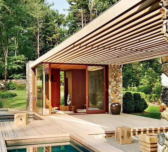 Like the idea of half open pavilion with extended shelter