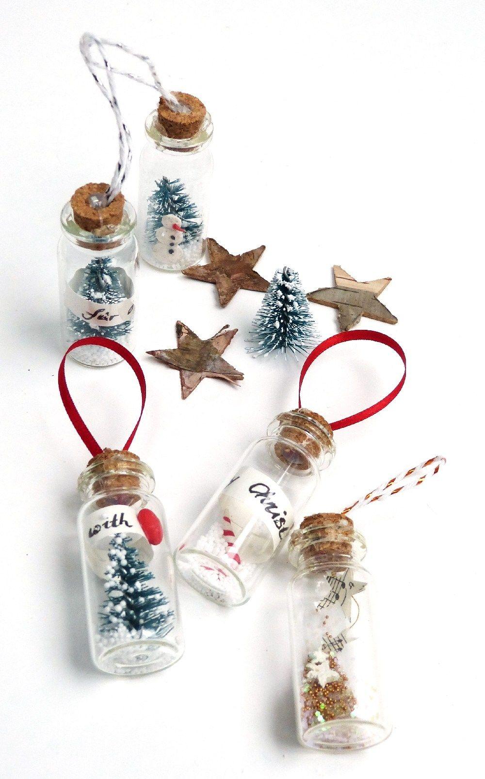 Diy geschenkanhänger und christbaumschmuck winterlandschaft im glas diy bottle brush christmas tree ornament