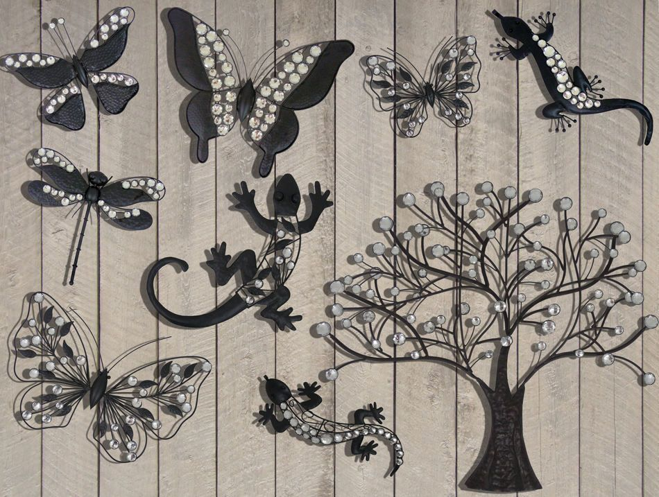 Dark Metal Garden Hanging Wall Art Large Tree With Crystal
