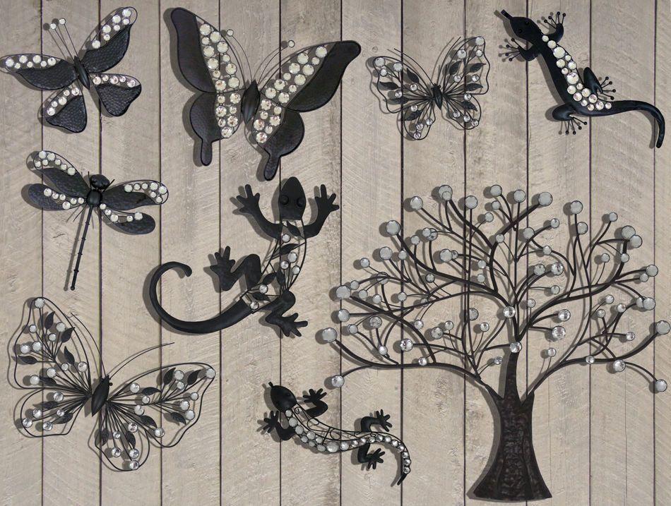 Dark Metal Garden Hanging Wall Art Large Tree With Crystal