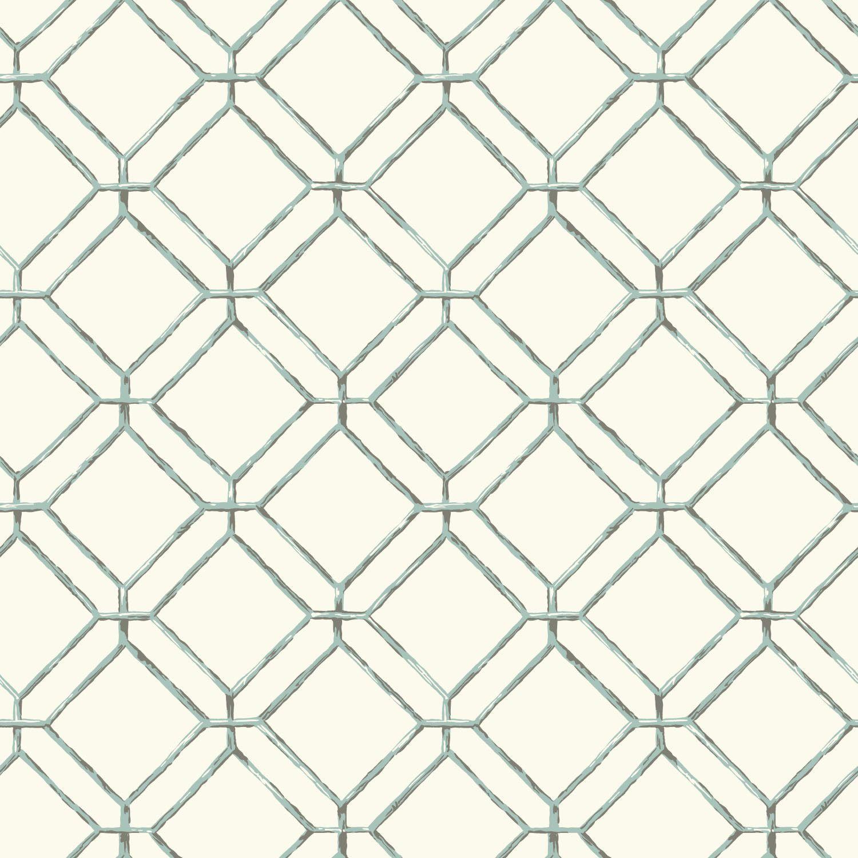 "Spa Blues 33' x 20.5"" Diamond Bamboo Wallpaper"