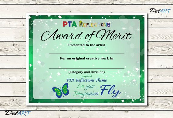 Pta reflections certificate 2015 2016 digital by delartdesigns pta reflections certificate digital printable pdf files certificate template let your imagination fly full or half sheet size yadclub Gallery
