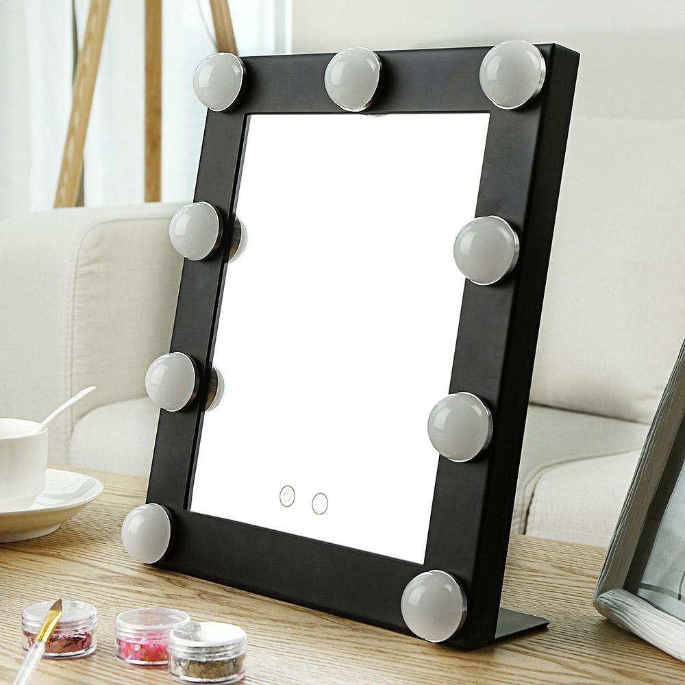 Led Model Portable Makeup Mirror With Bulbs Import Glass Double