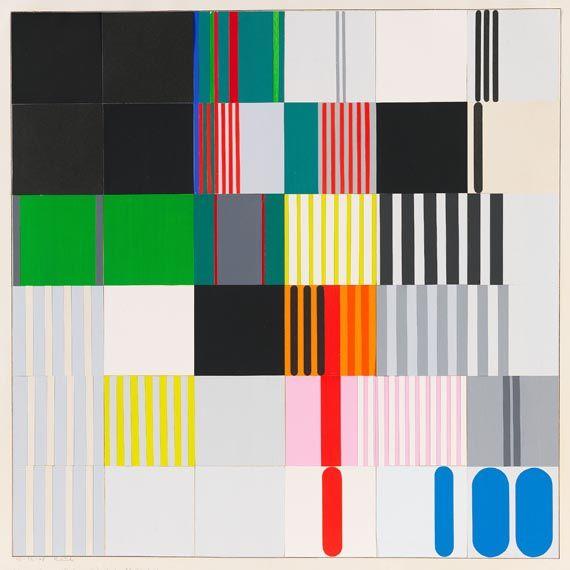 """thirdorgan: """"Heinz Kreutz (Germany, 1923) Schwarz, grau, weiß, grün und rot in 36 Quadraten 1968 """""""