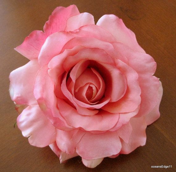 Pink silk rose hair clip
