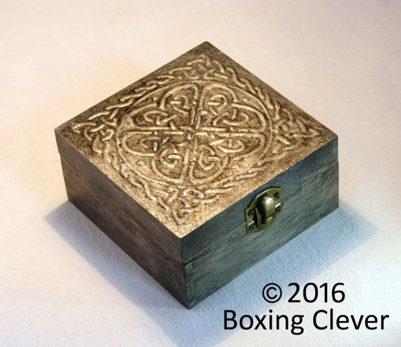 Celtic Jewellery Box Embossed Pewter style Knot Design with Gloss