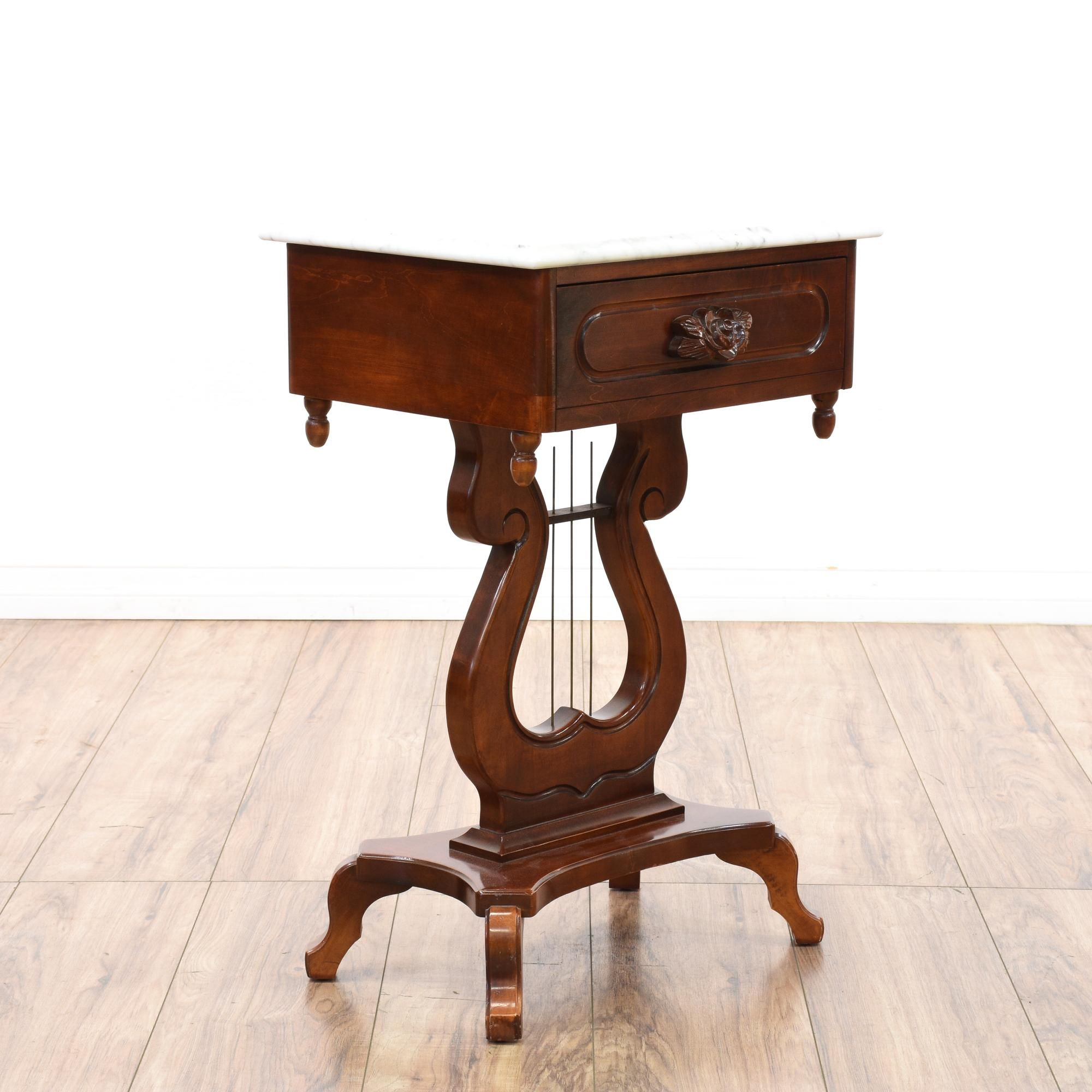 This Victorian End Table Is Featured In A Solid Wood With A Glossy Dark Cherry  Finish