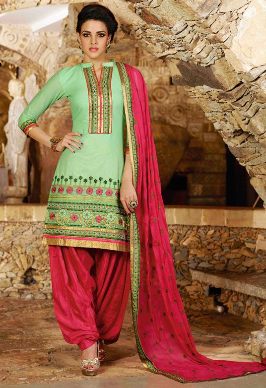 5ab4aaf0d3 USD 31.68 Mint Green Cotton Embroidery Punjabi Suit 44852 | Punjabi ...