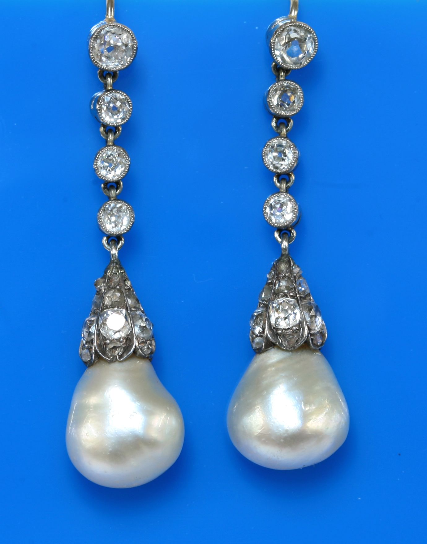 A pair of cased natural pearl and diamond drop earrings c 1900