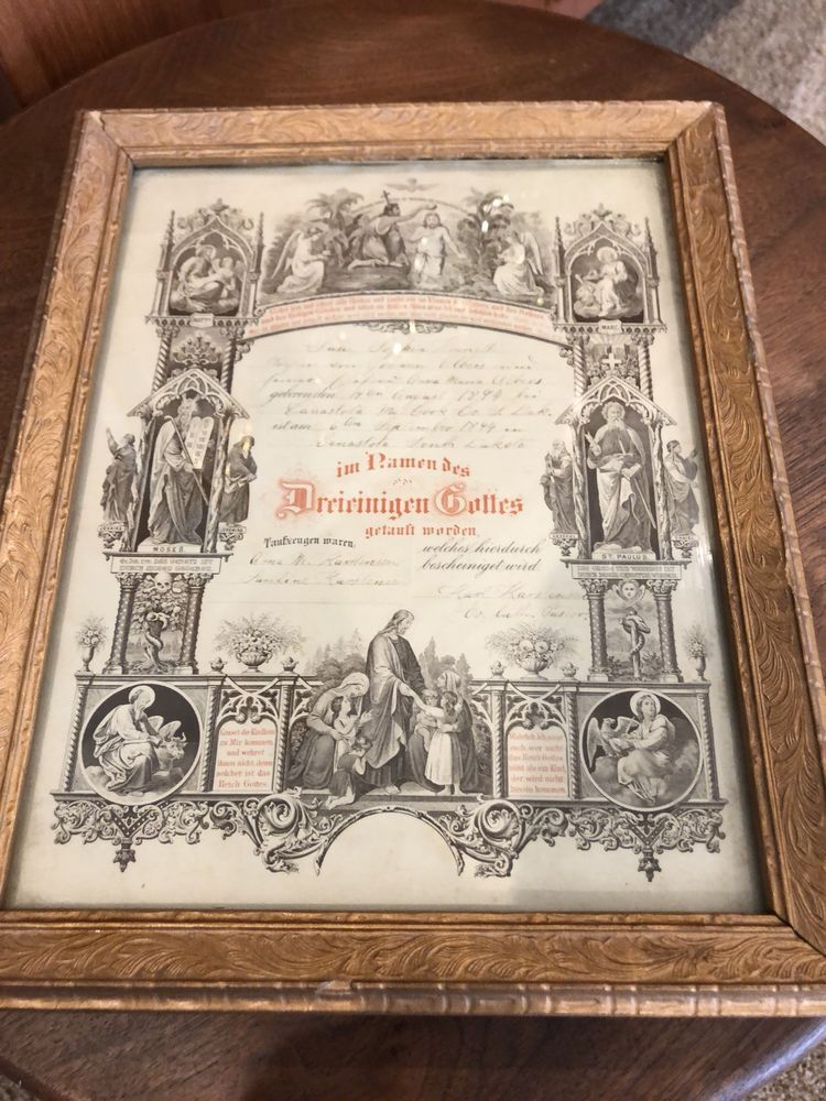 Antique German Birth Certificate 1894 Framed Lovely Condition South