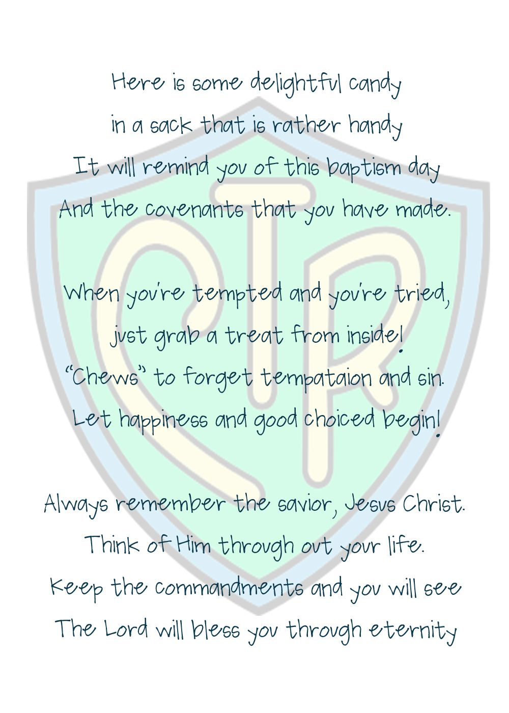 small resolution of lds baptism treat bags chews the right poem