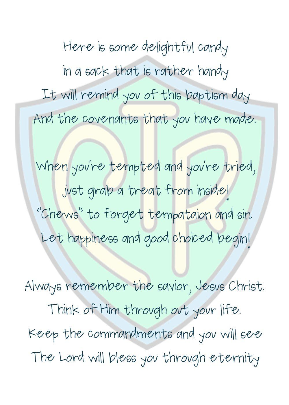 medium resolution of lds baptism treat bags chews the right poem