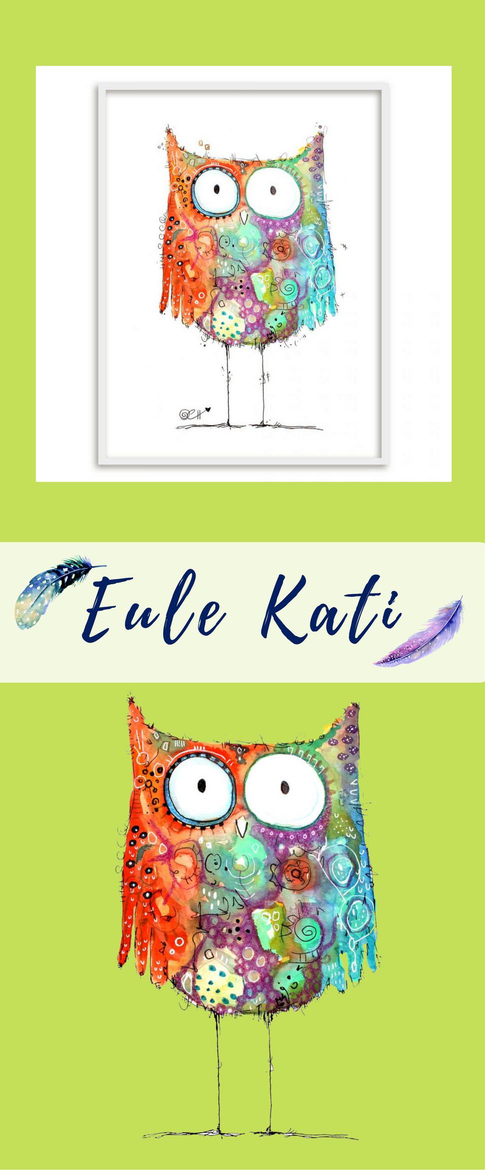 Poster Hagenmeyer - Eule Kati | Eulen kinderzimmer, Kunst poster und ...