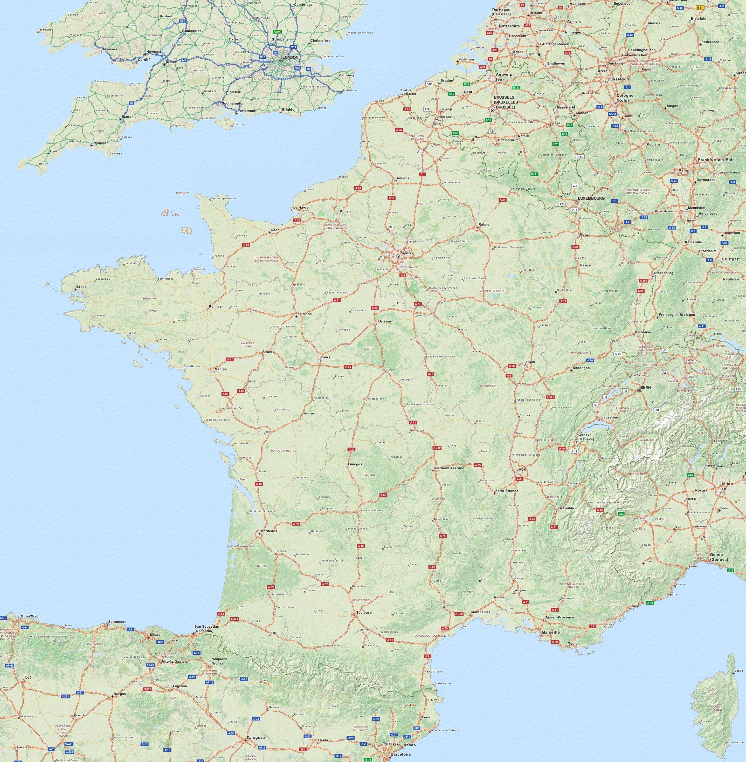 Carte Routiere De France Grand Format Carte Routiere De France