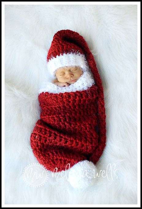 HAND CROCHET BABY GIRL 1ST XMAS JINGLE BELL SANTA HAT FUR STOCKING WINTER GIFT