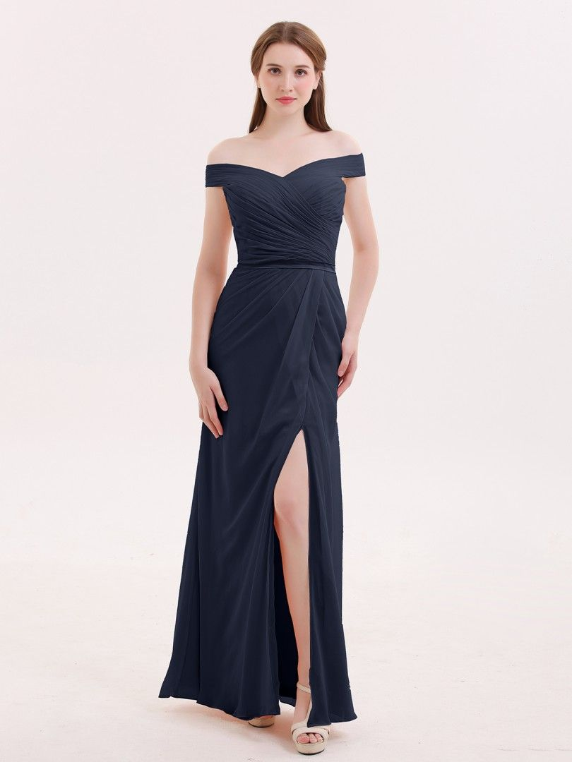 d38c541dbbd Babaroni Sebastiane Chiffon Off Shoulder Dresses with Slit