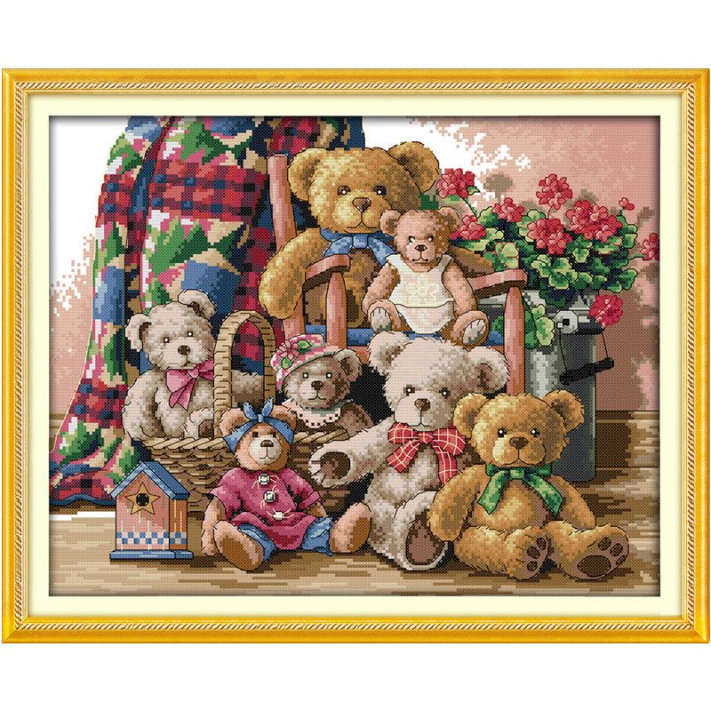 Counted Cross Stitch Kit Embroidery Animal Bear Family needlework Craft